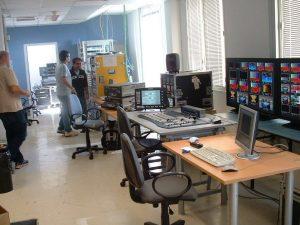 Sky Parigi production studio and machines in racks